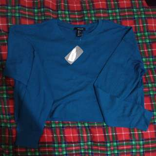 Forever 21 Classic Waffle Sweater (Teal-Small