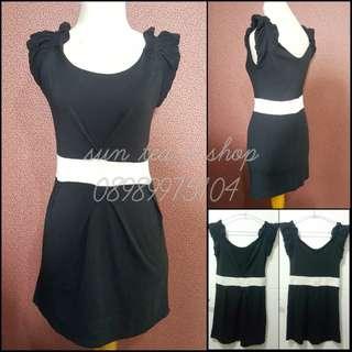 Black babydoll mini dress.