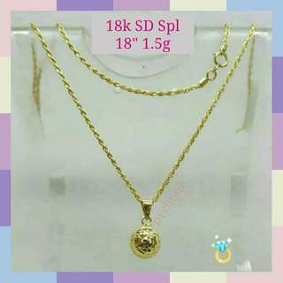 MBN011 New! 18k Saudi Gold Spl Necklace & Pendant