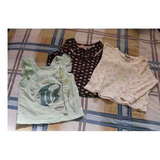 Take 3 set top/long sleeves for baby girls