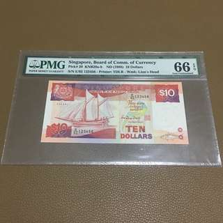 E/92 123456 ((PMG 66EPQ)) - 1988 Singapore $10 Ship Series with Solid Ladder Number in Original Brand New Mint Uncirculated Condition (UNC)