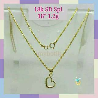 MBN014 New! 18k Saudi Gold Spl Necklace & Pendant