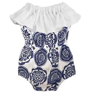 🌟INSTOCK🌟 White Lace Collar Baroque Blue Print Romper Onesie for Baby Toddler Girl Children Kids Everyday Wear