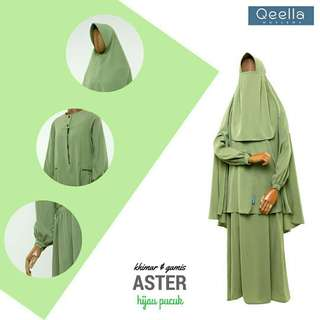 Khimar aster hijau pucuk by qeella moslema