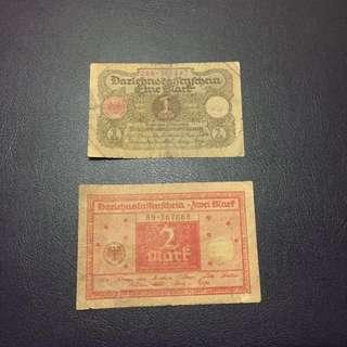 兩張靚號碼1920年1馬克和2馬克,品相差但十分歴史感,一張只售18  全程冇四靚號碼