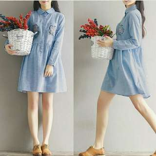 A Dress bunga denim  84000 Denim printing kancing hidup L