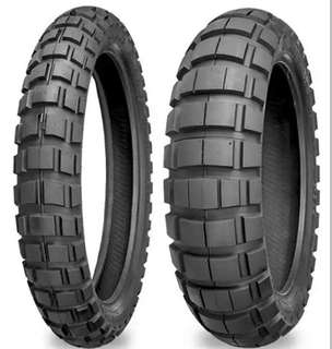 KTM adventure and Africa Twin 90/90 21inch front & 150/60 18inch rear wheel,   E-804/E-805 Big Block adventure tires above are rated as 50% off-road and 50% on-road. The tubeless, DOT tires good rd tyre and off road , 3MTHS OLD TYRE.