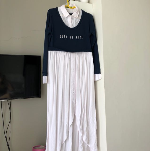 2 tones color dress