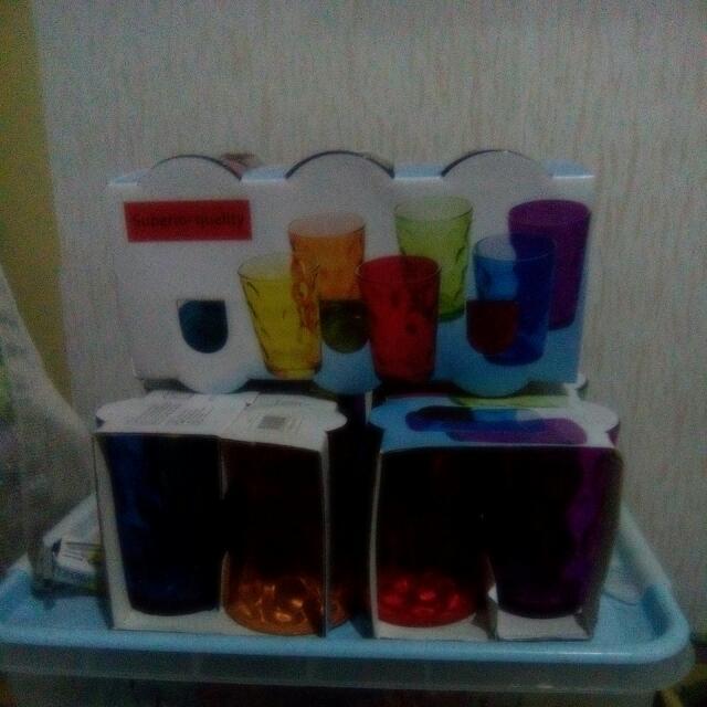 3 New Packs Of Colored Glasses,Assorted,6 Glasses Per Set
