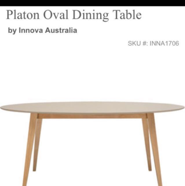 6 Seater Oval Oak Dining Table