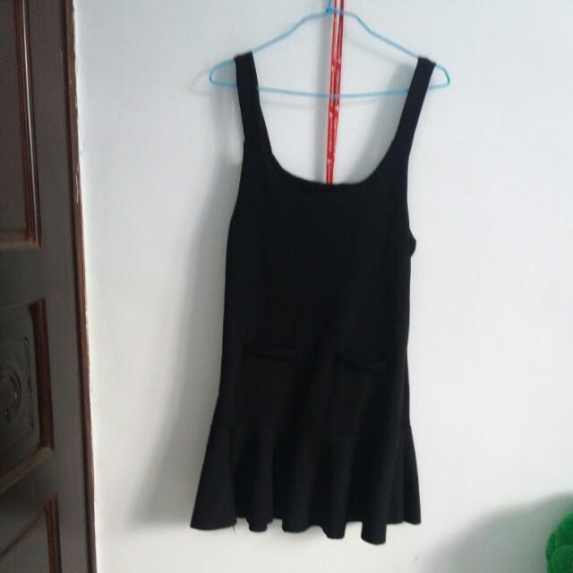 黑色螺旋紋魚尾背心裙
