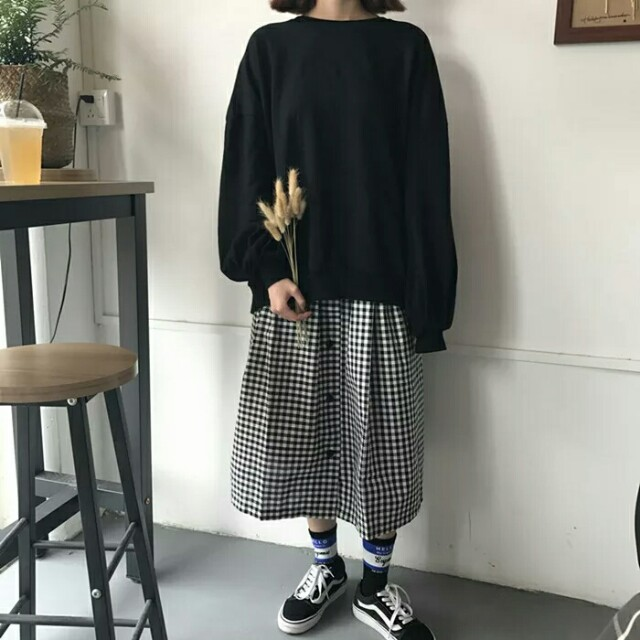 【預購】鬆緊腰排扣格子長裙