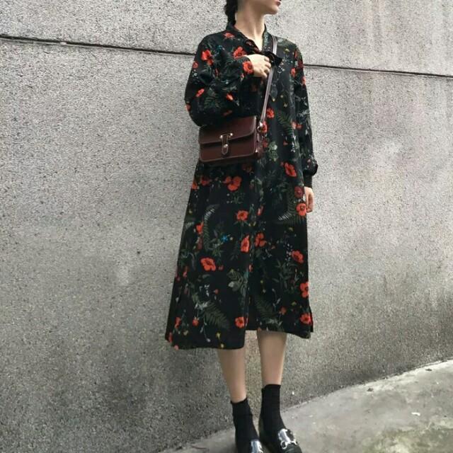 【預購】復古碎花雪紡連身裙