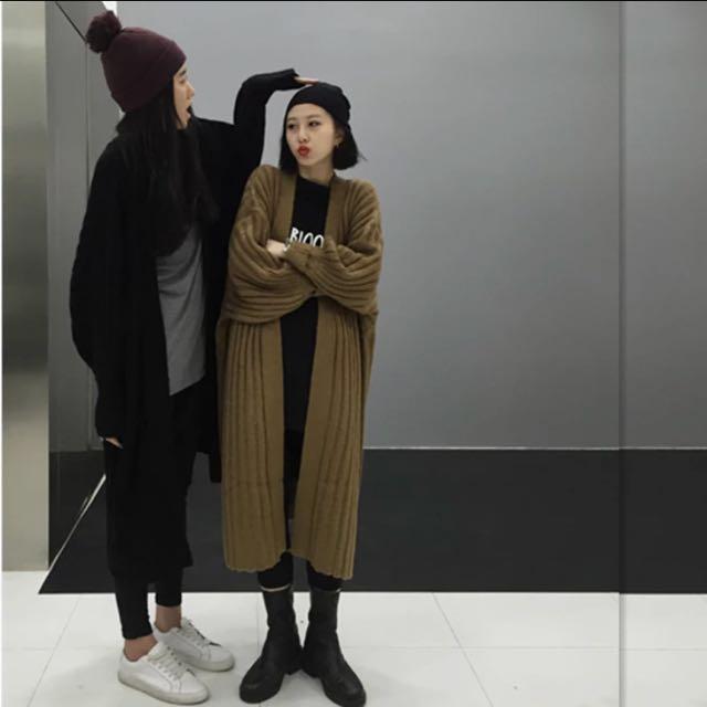 長版駝色針織毛衣外套