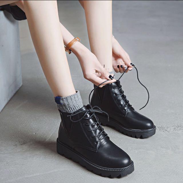 黑色馬靴加絨