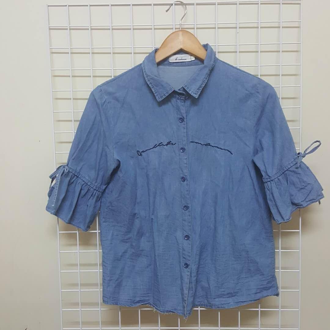 韓版短袖牛仔襯衫