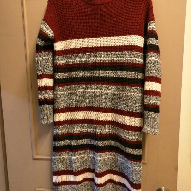 撞色條紋針織長袖毛衣