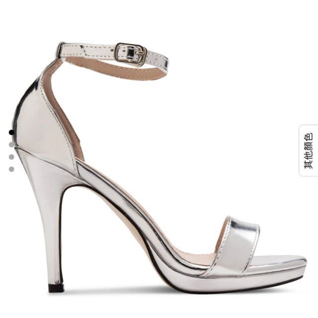 銀色露趾繞踝細跟鞋