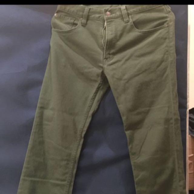 無印良品彈性軍綠色長褲