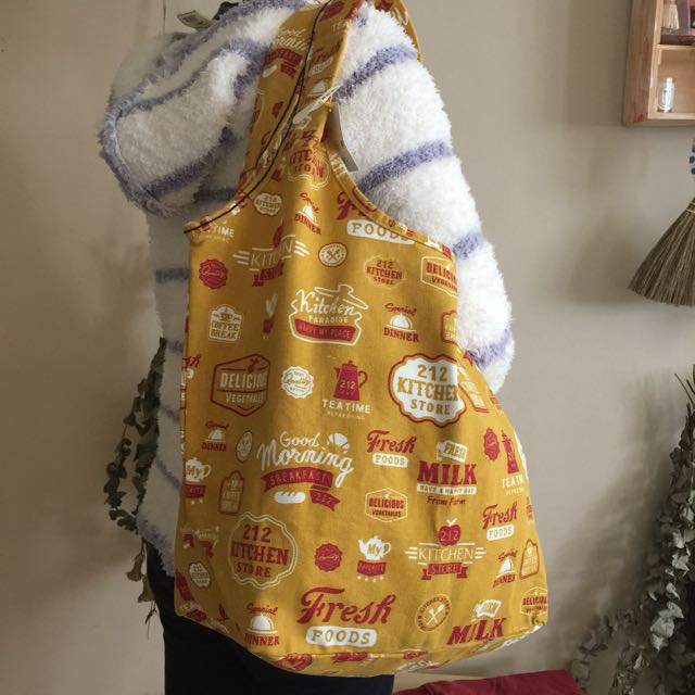 全新 212 kitchen store 日本品牌 托特包 Tote 購物袋 媽媽包 肩背包 手拿包 帆布包 布包 復古 咖啡 環保袋