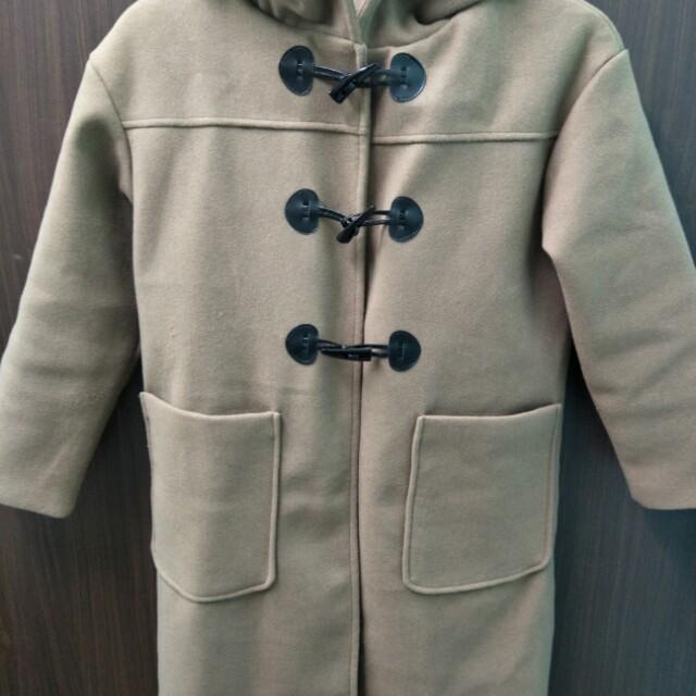 韓版 學院風牛角扣連帽長版外套大衣