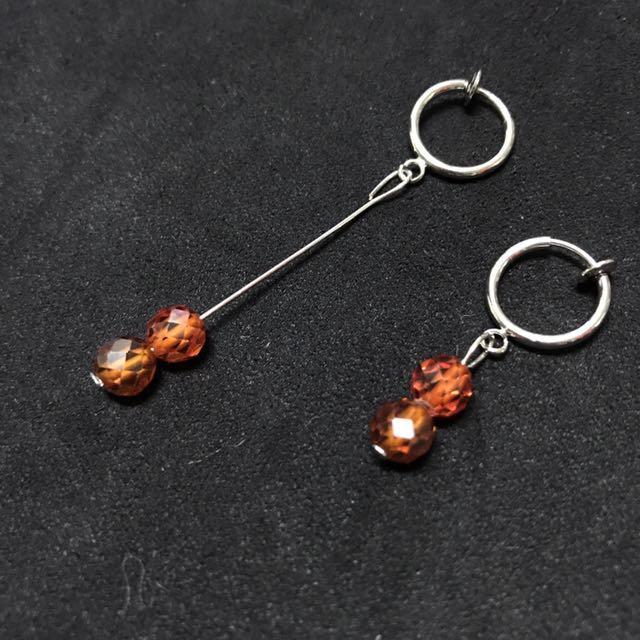 手作耳夾式長短設計 垂墜耳環