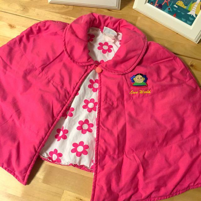 愛的世界 桃紅色小花披肩 斗篷 外套
