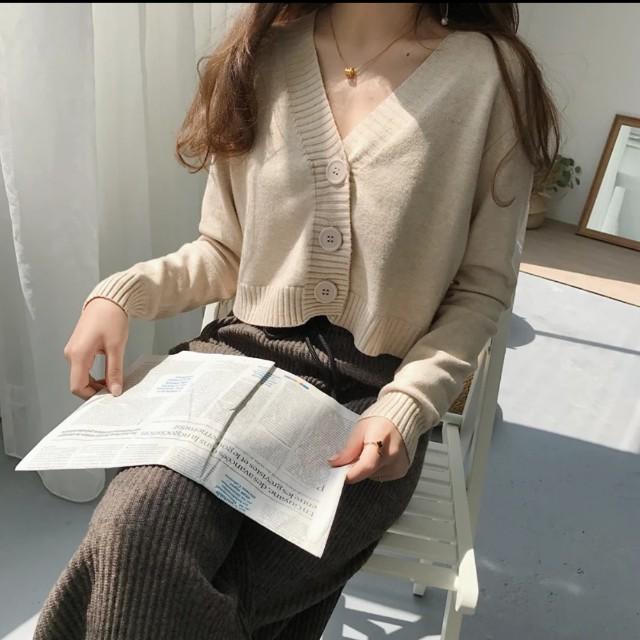 針織衫 長袖新款 復古chic風 百搭V領短款 開衫外套上衣