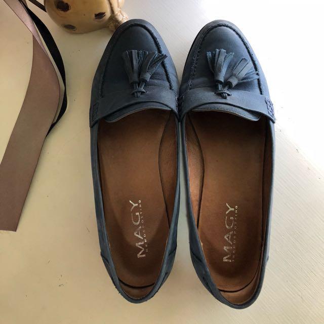 [正品] MAGY 文青學院風 絨布感流蘇樂福鞋 - 藍色