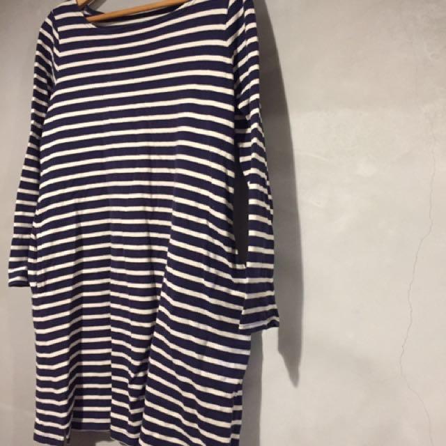 日本 無印良品muji 有機棉 經典款 藍白條紋上衣 洋裝