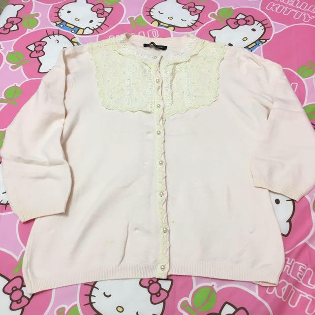 日本品牌 nice claup 甜美蕾絲七分袖上衣小外套