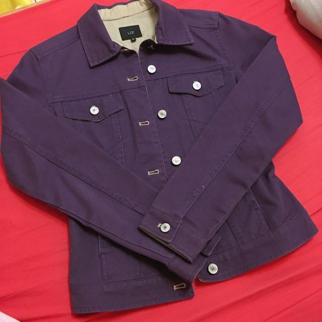 古著 U2紫色牛仔外套