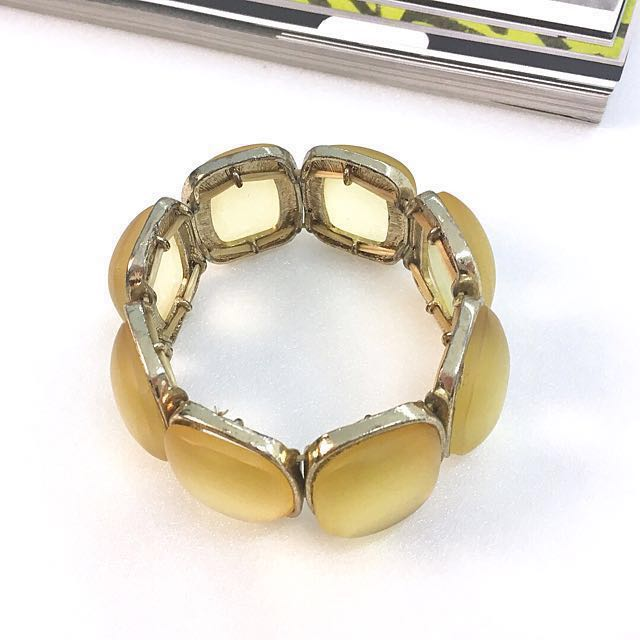 Acc ::: 復古壓克力寶石鬆緊手環