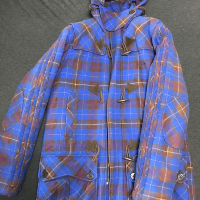 Adidas original長版鋪棉絨布格紋外套