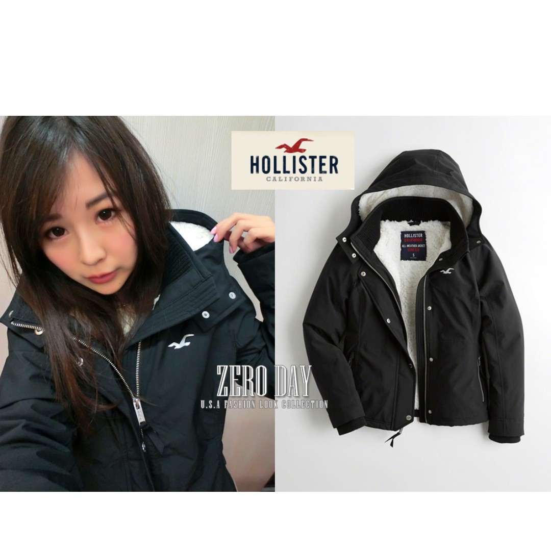 真品A&F副牌Hollister All-Weather Stretch Sherpa-Lined Jacket風衣外套