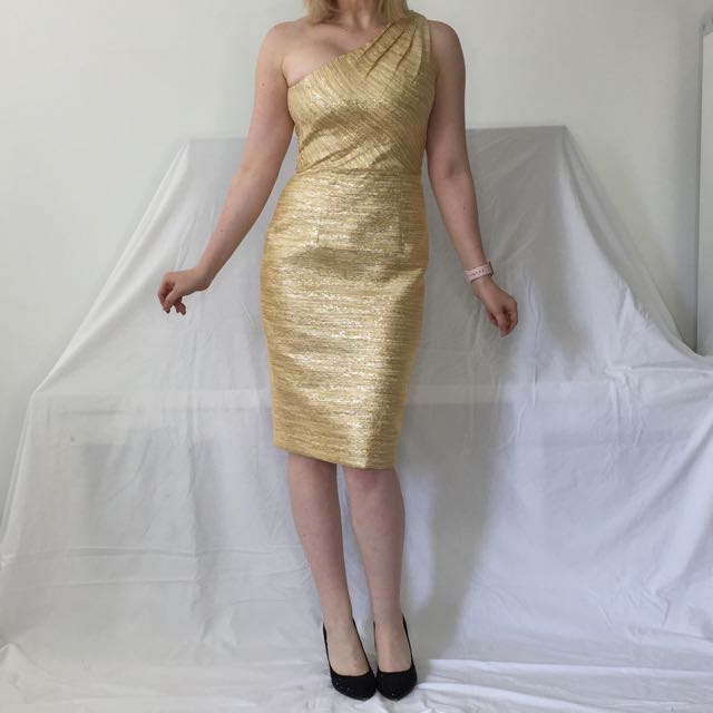 Alex Perry Yellow Gold One Shoulder Cocktail Dress