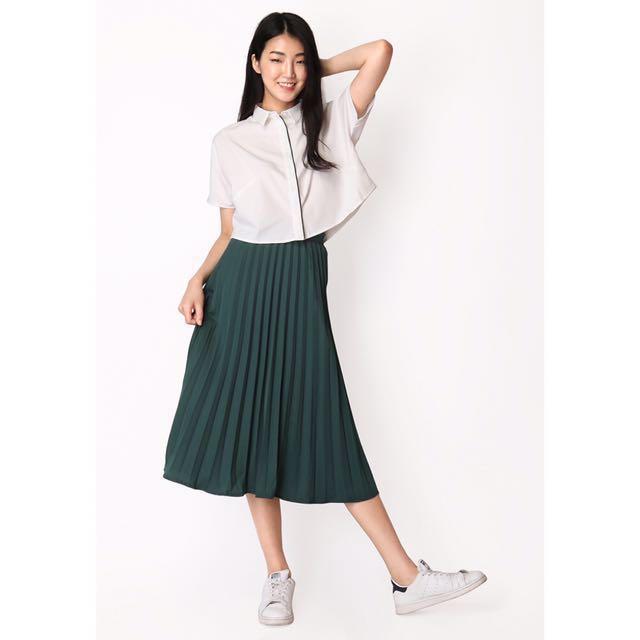 Arcade fleeting steps pleated skirt, emerald green