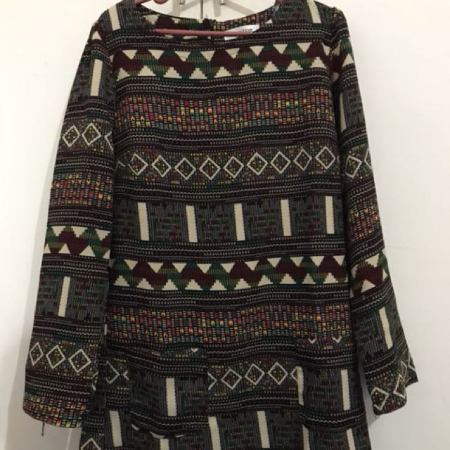 Aztec long sleeve dress