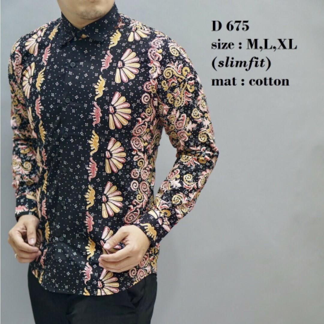 Panjang Slimfit Pria / Men's Long Sleeve Batik Shirts / Kemeja Pria Terbaru .