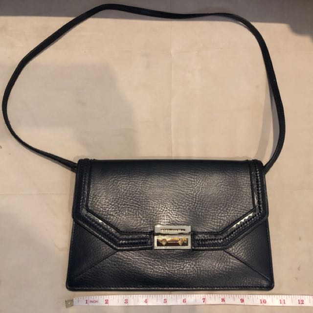 BCBG navy blue leather clutch bag