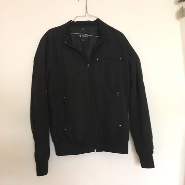 Black Bomber Windbreaker Jacket