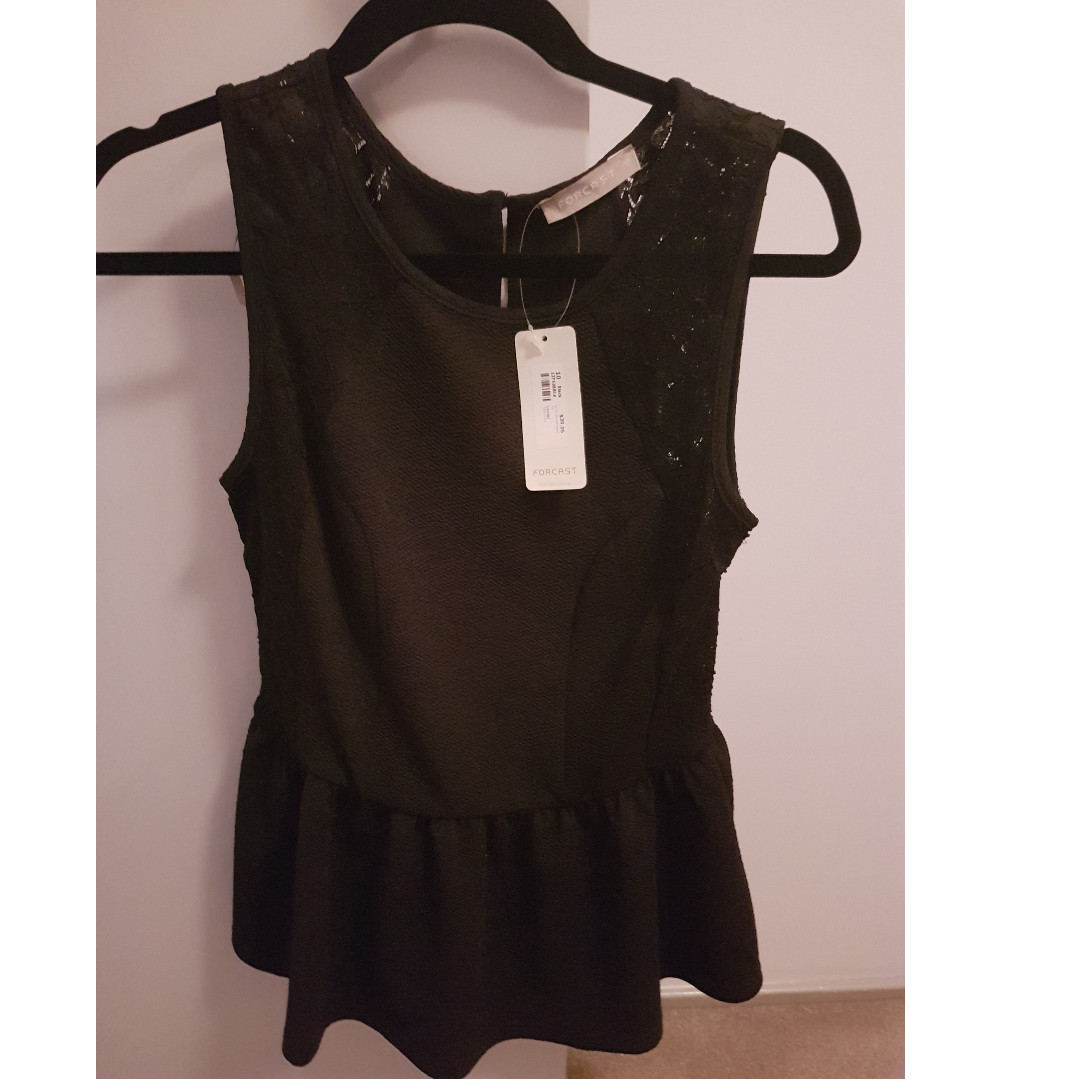 Black top with Lace (Forcast)  (Brand New, Never Worn with tags)