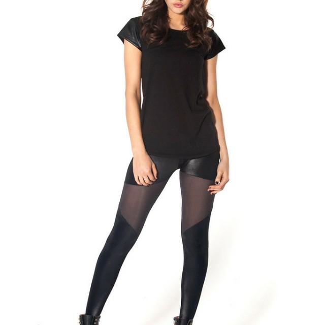 Black Milk Clothing Black Sheer Spartan Leggings (size M)