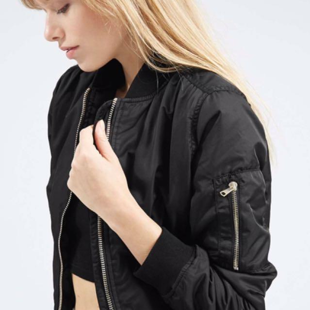Black womens topshop bomber jacket size 8 medium