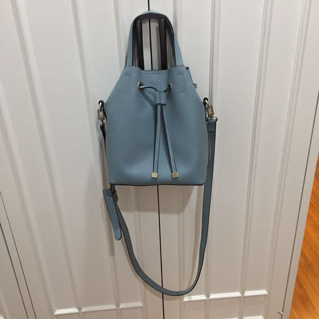 Blue bucket bag with strap