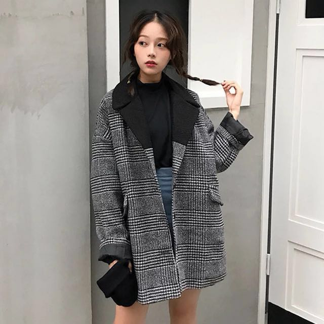 5dad4fa12 BN] ulzzang oversized tweed jacket, Women's Fashion, Clothes ...