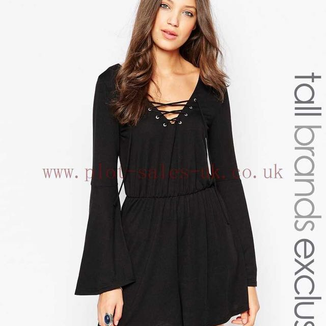 0fef95a697 BNIB ASOS Glamorous Tall Jersey Playsuit With Bell Sleevess And Tie ...