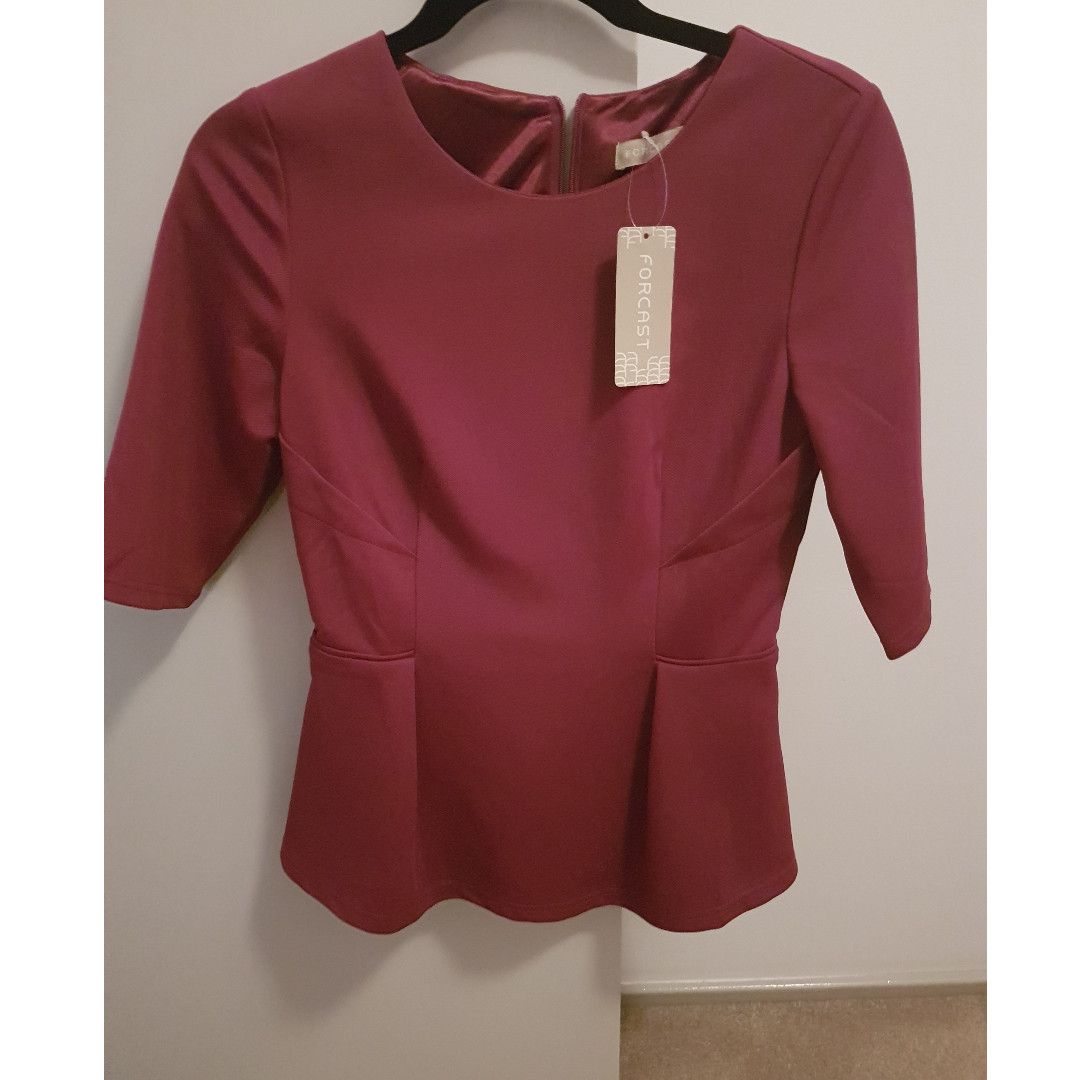 Brand New (Forcast) Purple Peplum Top, 3/4 sleeves Never Worn s10