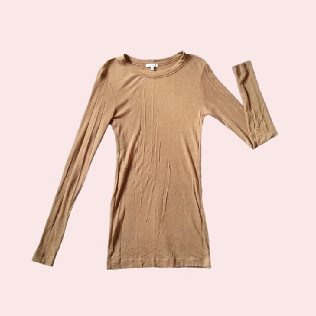 Brown Fitted Pullover Top