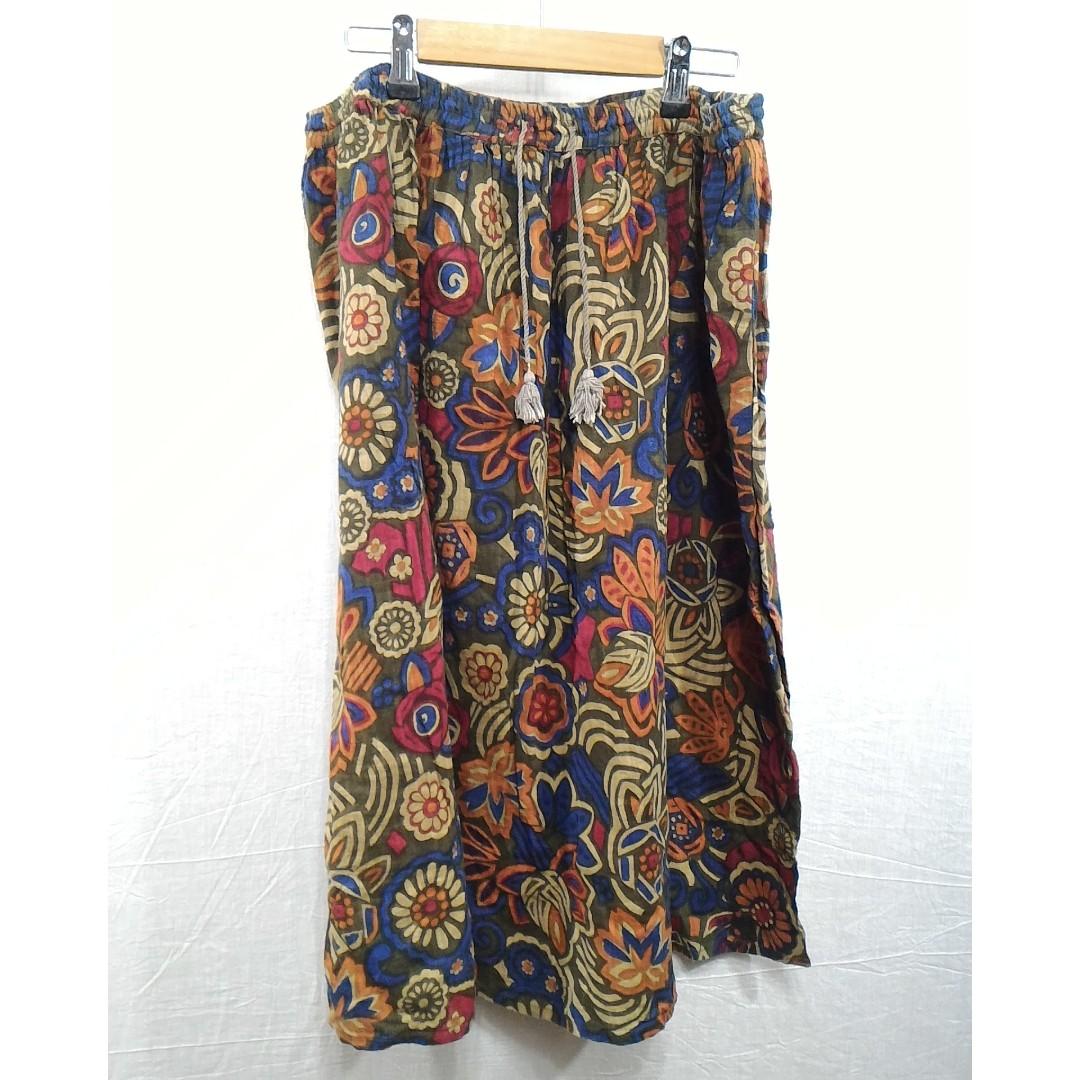Caliner花卉圖案綁帶棉裙